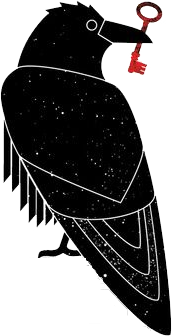 A drawn image of a black raven holding a red key in its beak.